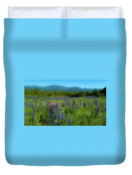 Duvet Cover featuring the photograph Field Of Lupines by Brenda Jacobs
