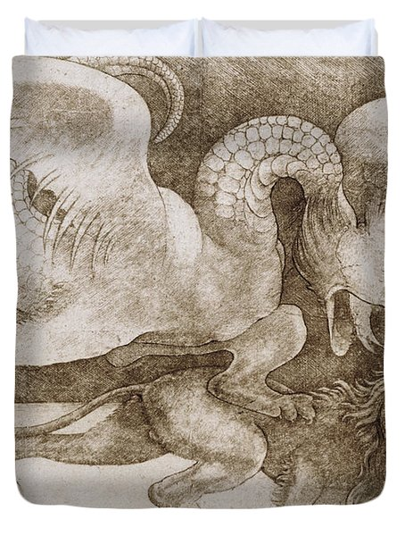 Fight Between A Dragon And A Lion Duvet Cover