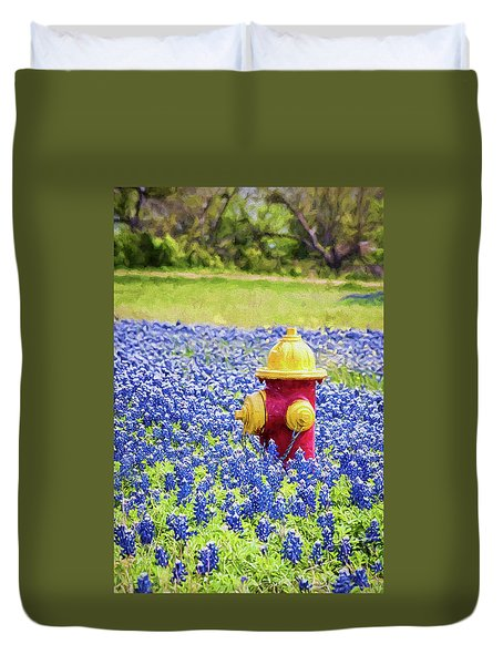 Fire Hydrant In The Bluebonnets Duvet Cover
