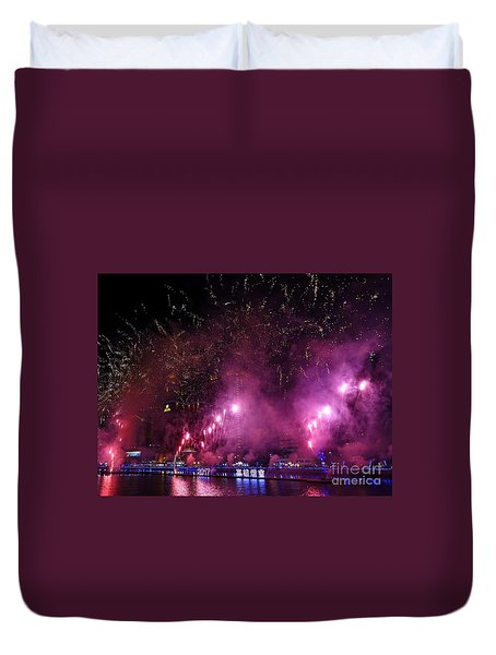 Duvet Cover featuring the photograph Fireworks Along The Love River In Taiwan by Yali Shi