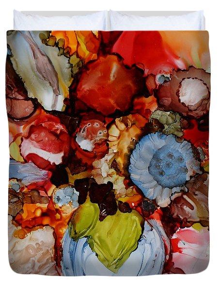 Floral With Blue Vase Duvet Cover
