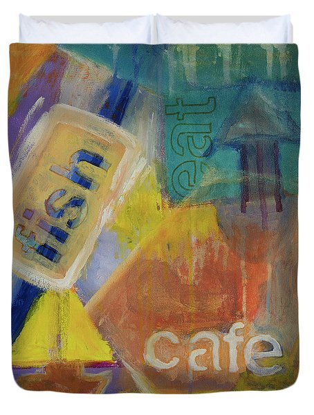 Duvet Cover featuring the painting Fish Cafe by Susan Stone
