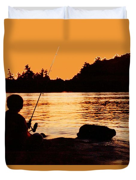 Fishing From A Rock  Duvet Cover