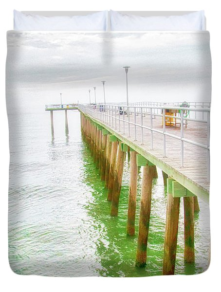 Fishing Pier, Margate, New Jersey Duvet Cover