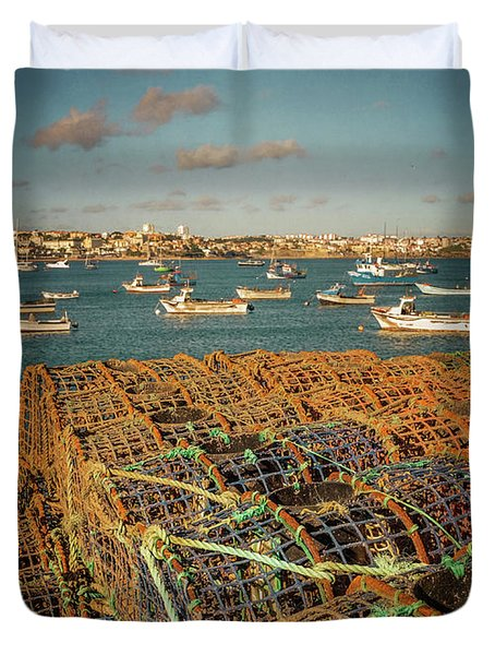 Fishing Traps In Cascais Duvet Cover