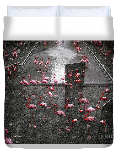 Duvet Cover featuring the photograph Flamingo by Setsiri Silapasuwanchai