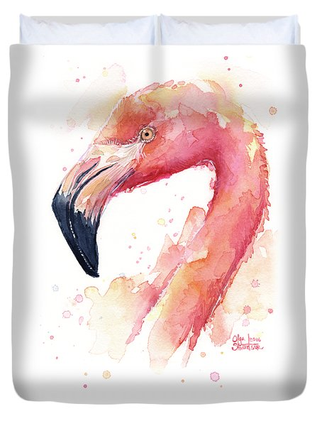 Flamingo Watercolor  Duvet Cover by Olga Shvartsur