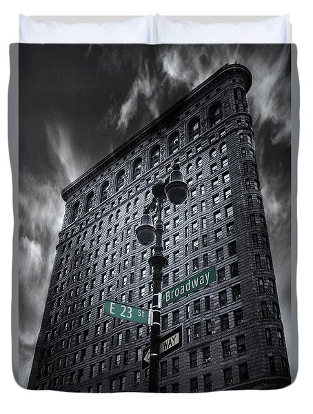 Duvet Cover featuring the photograph Flatiron Noir by Jessica Jenney