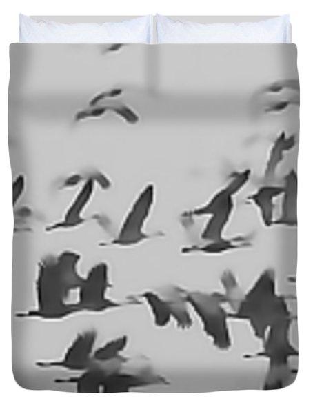 Flight Of The Sandhill Cranes Duvet Cover