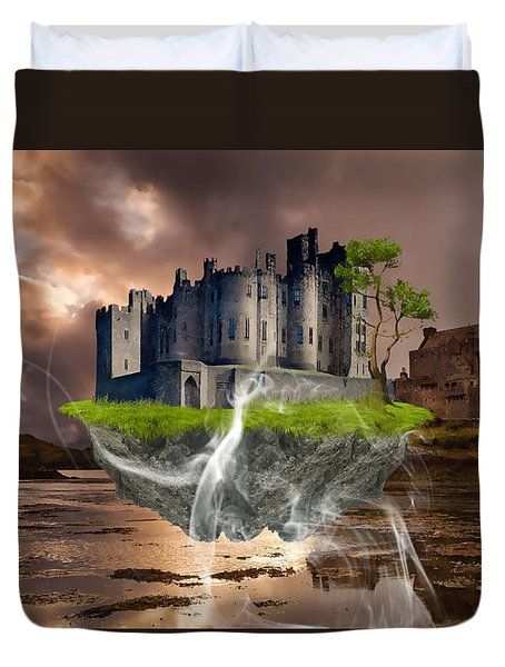 Floating Castle Duvet Cover by Marvin Blaine