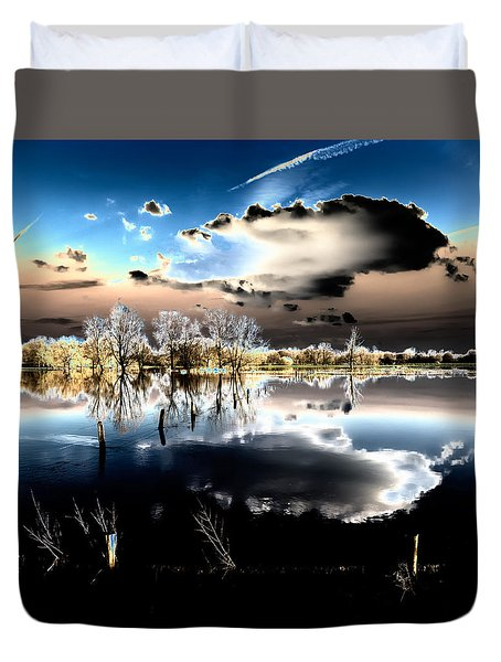Duvet Cover featuring the photograph Flooded Land by Hans Engbers