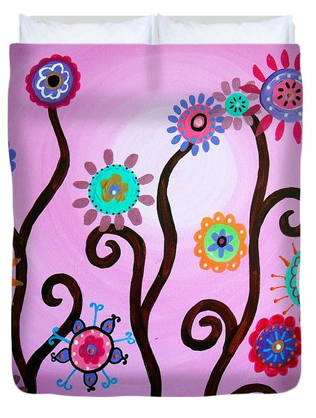 Duvet Cover featuring the painting Flower Fest by Pristine Cartera Turkus