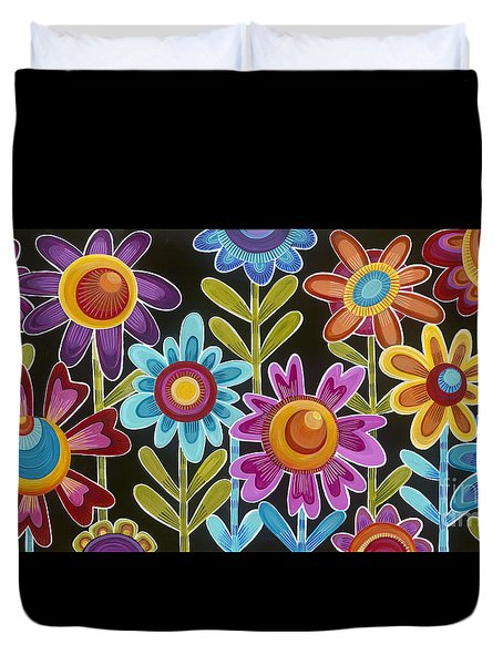 Duvet Cover featuring the painting Flower Power by Carla Bank