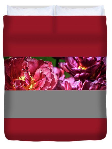 Flowers And Fractals Duvet Cover