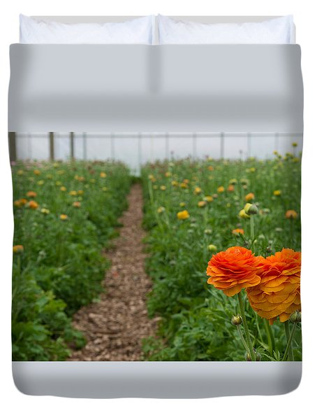 Duvet Cover featuring the photograph Flowers In Greenhouse by Hans Engbers