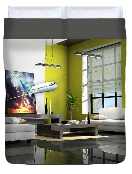 Fly The Friendly Skies Art Duvet Cover by Marvin Blaine