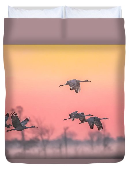 Duvet Cover featuring the photograph Flying Into The Light And Fog by Kelly Marquardt