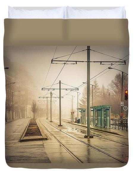 Fog Deserted Street Duvet Cover