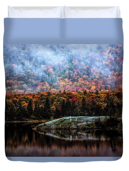 Foggy Foliage Morning Duvet Cover