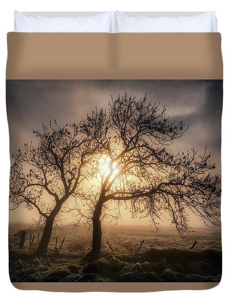 Duvet Cover featuring the photograph Foggy Morning by Jeremy Lavender Photography