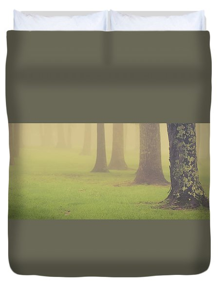 Duvet Cover featuring the photograph Foggy Trees Pano by Joye Ardyn Durham