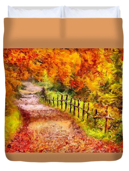 Fall Foliage Path 2 Duvet Cover