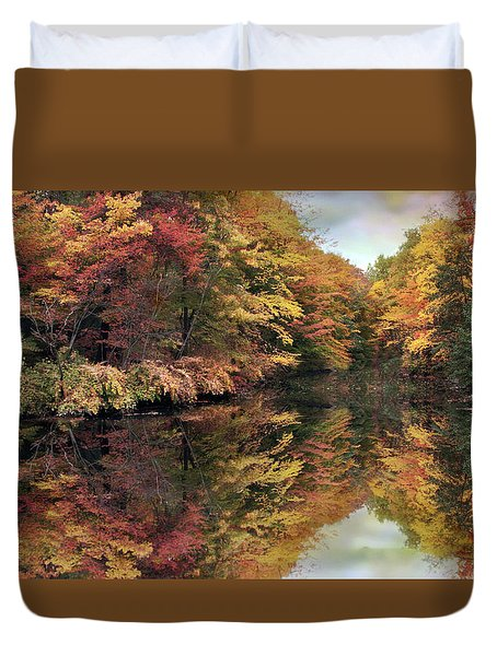 Duvet Cover featuring the photograph Foliage Reflections by Jessica Jenney