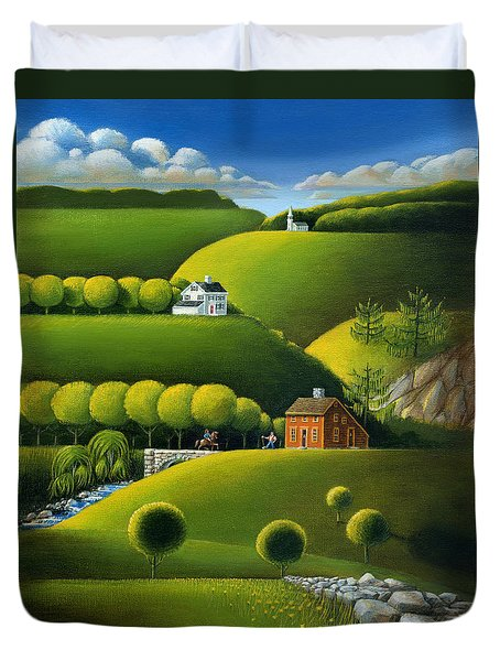 Foothills Of The Berkshires Duvet Cover by John Deecken