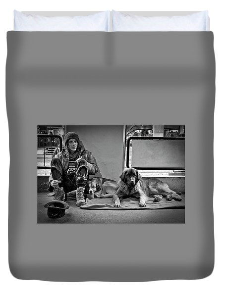 Duvet Cover featuring the photograph For The Love Of Dog by Sonny Marcyan