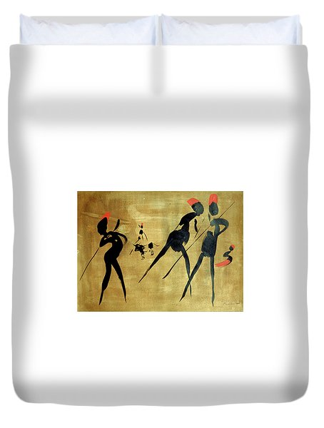 Four Hunters With Bull 3 Duvet Cover