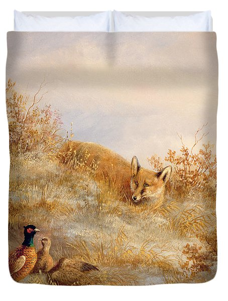 Fox And Pheasants In Winter Duvet Cover by Anonymous
