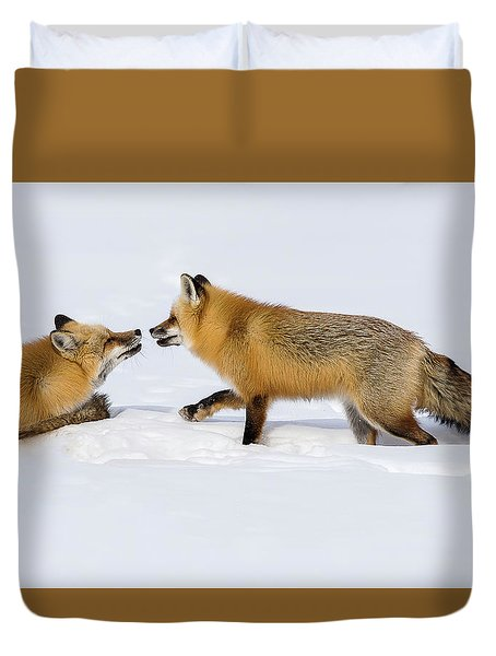 Duvet Cover featuring the photograph Fox Love by Brenda Jacobs