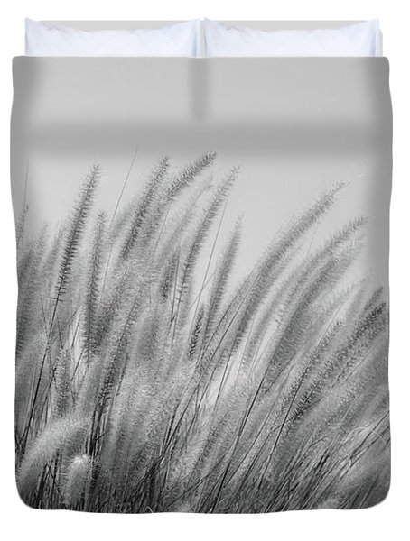 Foxtails On A Hill In Black And White Duvet Cover