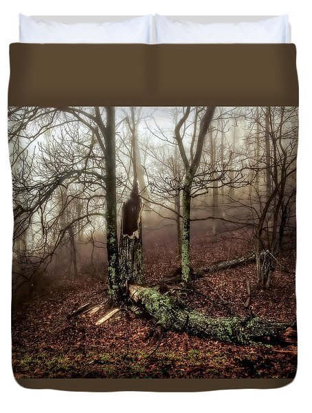 Fractured In Fog Duvet Cover