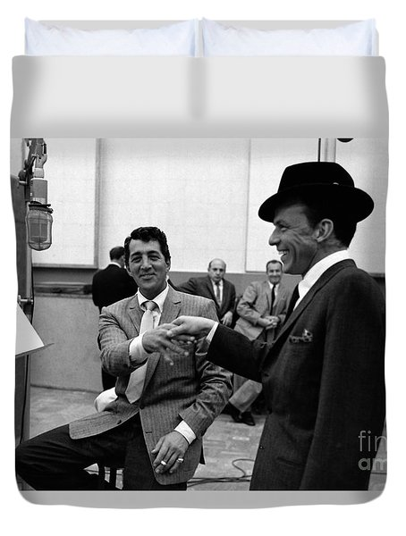 Frank Sinatra And Dean Martin At Capitol Records Studios 1958. Duvet Cover by The Titanic Project