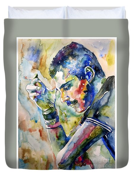 Freddie Mercury Watercolor Duvet Cover