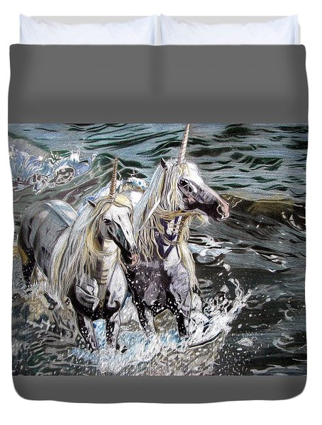 Freedom And Friendship Duvet Cover by Melita Safran