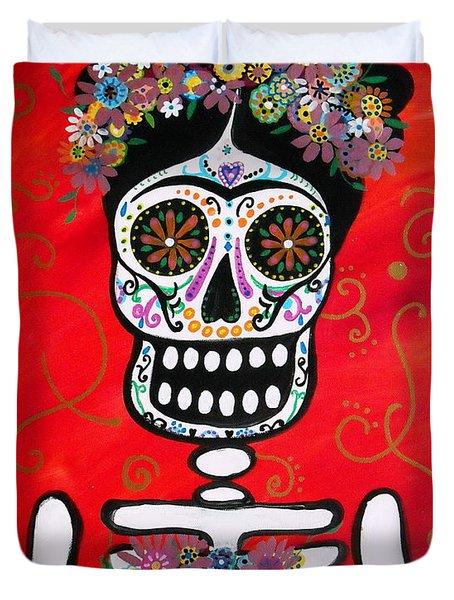 Duvet Cover featuring the painting Frida Dia De Los Muertos by Pristine Cartera Turkus