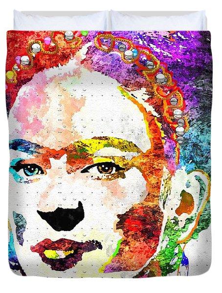Frida Kahlo Grunge Duvet Cover by Daniel Janda