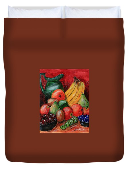 Fruit And Pitcher Duvet Cover by Melvin Turner