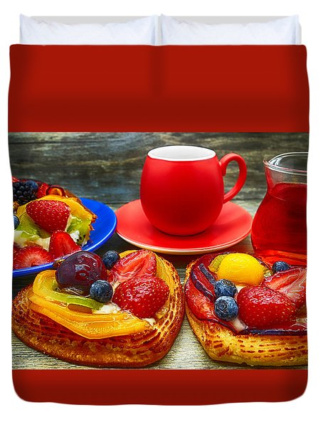 Fruit Desserts And Cup Of Coffee Duvet Cover