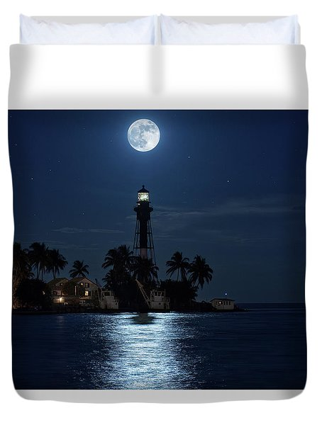 Duvet Cover featuring the photograph Full Moon Over Hillsboro Lighthouse In Pompano Beach Florida by Justin Kelefas