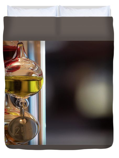Duvet Cover featuring the photograph Galileo Thermometer by Jeremy Lavender Photography