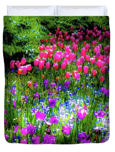 Garden Flowers With Tulips Duvet Cover