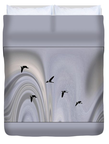 Geese In The Jet Stream Duvet Cover
