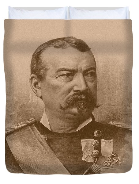 Duvet Cover featuring the drawing General Philip Sheridan by War Is Hell Store
