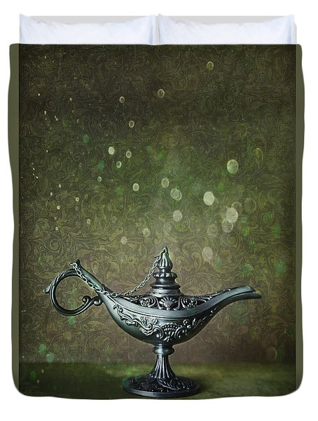 Genie Lamp On Old Book Duvet Cover