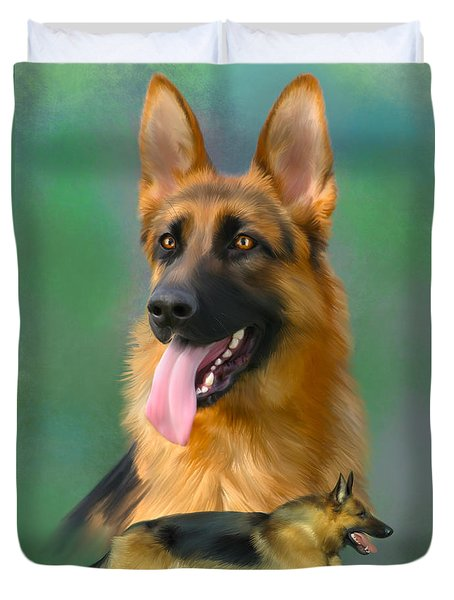 German Shepherd Breed Art Duvet Cover