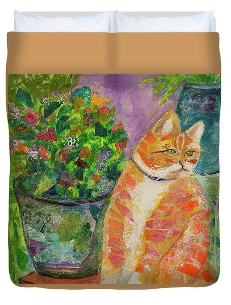 Ginger With Flowers Duvet Cover