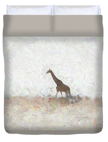 Duvet Cover featuring the digital art Giraffe Abstract by Ernie Echols